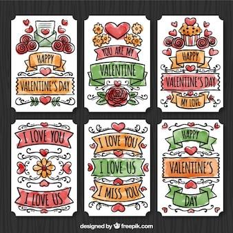 Zestaw kart akwarela z miłości wiadomości