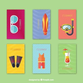 Zestaw kart letnich z elementami w płaskiej konstrukcji