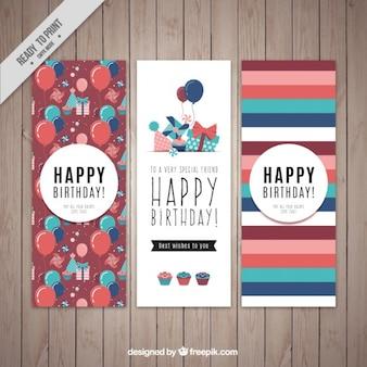 Zestaw kart urodzinowych z balonami i paski