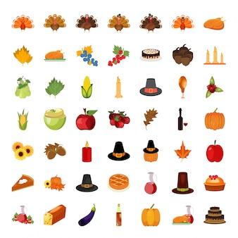 Zestaw kolorowe ikony kreskówek na dzień dziękczynienia.