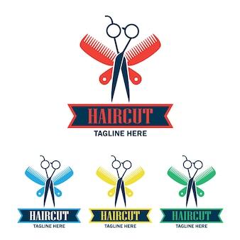 Zestaw logo sklepu fryzjerskiego z miejscem na tekst dla Twojego sloganu
