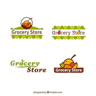 Zestaw logo sklepu spożywczego