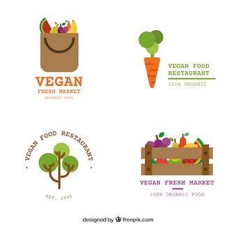 Zestaw logotypów wegańskiej żywności