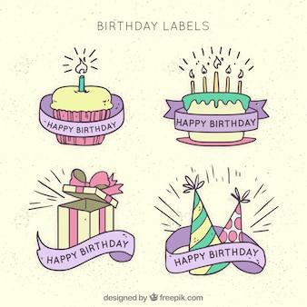 Zestaw narysowanych ręcznie naklejek urodzinowych