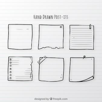 Zestaw notatek ręcznie narysowanych