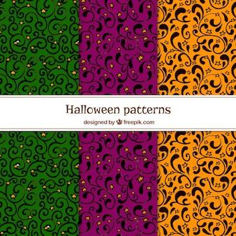 Zestaw ozdobnych wzorów ręcznie narysowanych kolorów