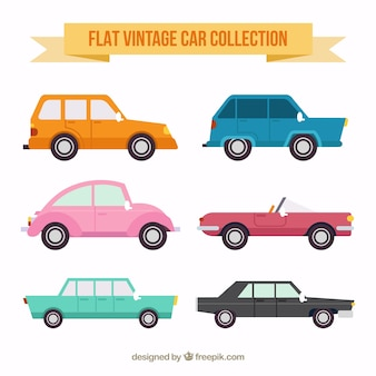 Zestaw płaskich kolorowych samochodów w stylu retro