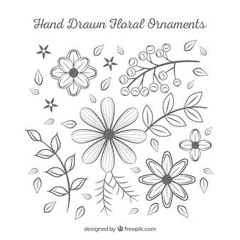 Zestaw ręcznie rysowane kwiatów