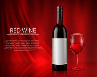 Zestaw realistyczne ilustracji wektorowych szklanych butelek wina i okulary z białym i czerwonym winem