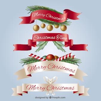Zestaw realistycznych Vintage Christmas wstążkami