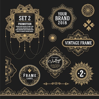 Zestaw retro zabytkowe elementy graficzne do ramki, etykiety, symbole logo i ozdobnych