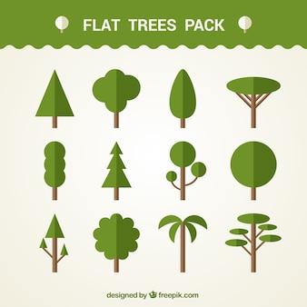 Zestaw różnych wektorów drzew w stylu płaskiej