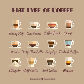 Zestaw rodzajów kawy w stylu płaskiej