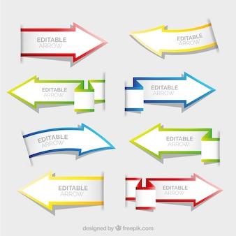 Zestaw strzałki papieru banery