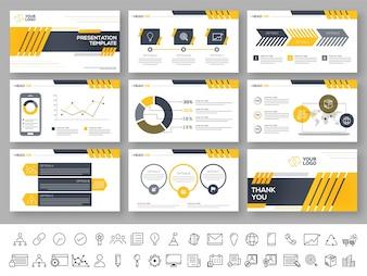 Zestaw szablonów prezentacyjnych z elementami infograficznymi.
