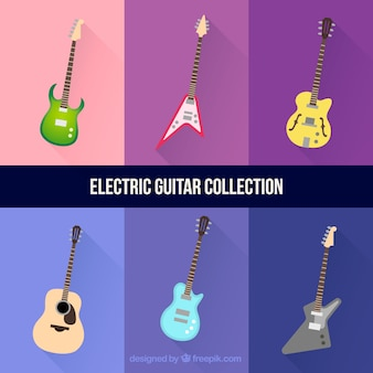 Zestaw sześciu elektrycznych gitar