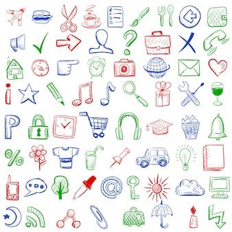 Zestaw szkicu ikon dla witryny lub aplikacji mobilnej