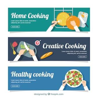 Zestaw trzech banerów gotowania