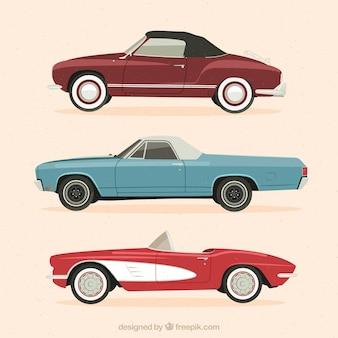 Zestaw trzech eleganckich samochodów zabytkowych