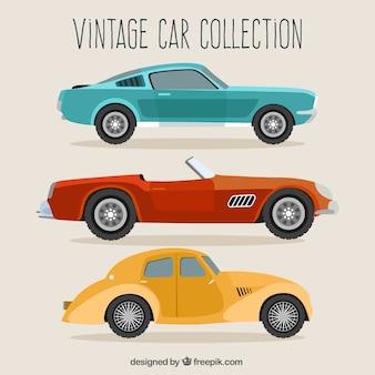Zestaw trzech pojazdów retro w płaskiej konstrukcji