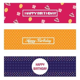 Zestaw urodzinowy pozdrowienia projektowania kart