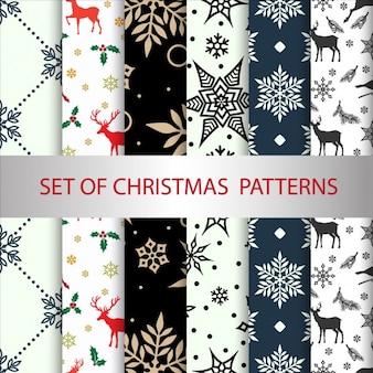Zestaw wektor Boże Narodzenie bez szwu wzorów