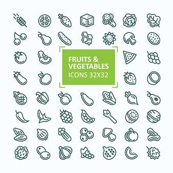 Zestaw wektora ikony owoców i warzyw w stylu cienkiej linii, edytowalne udar
