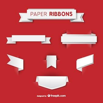 Zestaw wektora wstążki papierowe