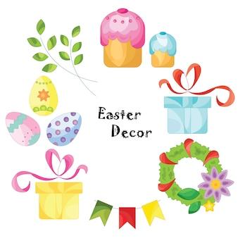 Zestaw Wielkanocny. Ilustracji wektorowych.