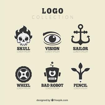 Zestaw z logo ciekawymi motywami