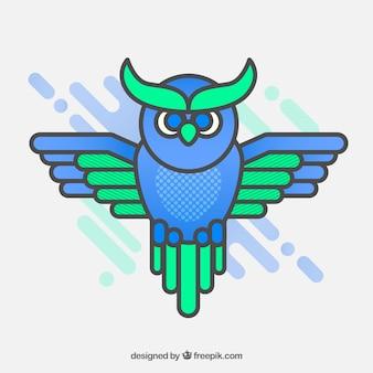 Zestaw zielonej i niebieskiej sowy w płaskim deseniu