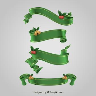 Zestaw zielonych wstążek Boże Narodzenie