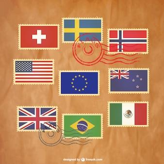 Zestaw znaczków darmo flag