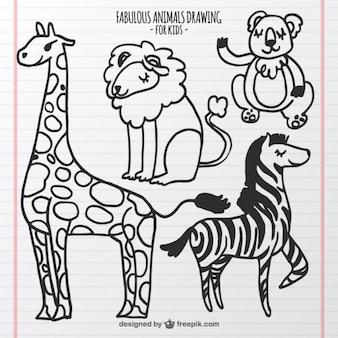 Zestaw zwierząt rysunkowych dla dzieci
