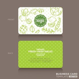 Zielona żywność doodle sklep lub wegańskie cafe wizytówka