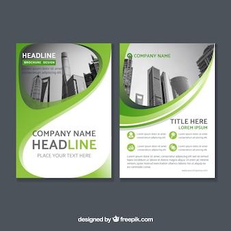 Zielona firmowa broszura abstrakcyjna
