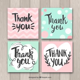 Zielona i różowa kolekcja kart z podziękowaniami