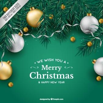 Zielone tło Boże Narodzenie z bombkami