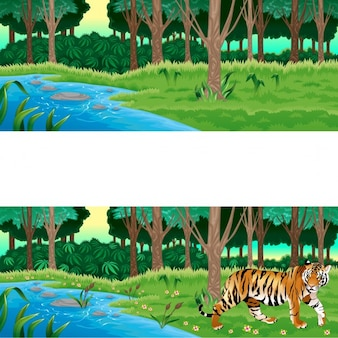 Zielony las z oraz bez tygrysa Wektor kreskówki