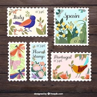 znaczki ptaków w zabytkowe projektowania