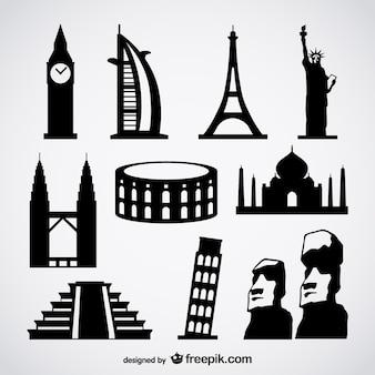 znany zagraniczny wektor budynki