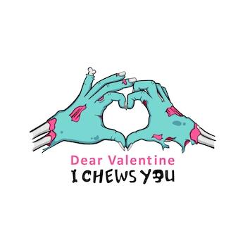 Zombie Hand Making Znak miłości, I chews you