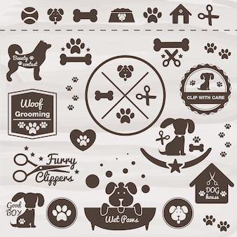 Zwierzęta pies zestaw ikon wektorowych