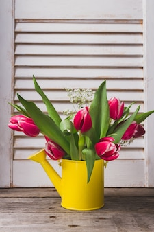 Żółta konewka piękne tulipany