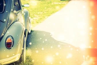 Beetle samochodów z drogi na jednej stronie