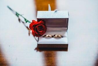 Box z pierścieniami i róży