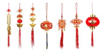 Chiński nowy rok dekoracji na białym tle