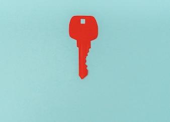 Cięcia papieru z kluczem do serca jako symbol miłości.