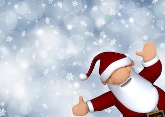 Cute Santa Claus na tle śniegu