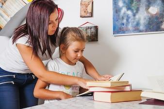 Czytanie dziewczynki i matki